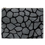 SKIN1 BLACK MARBLE & GRAY LEATHER Cosmetic Bag (XXL)