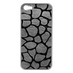 SKIN1 BLACK MARBLE & GRAY LEATHER Apple iPhone 5 Case (Silver)