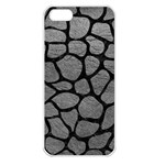 SKIN1 BLACK MARBLE & GRAY LEATHER Apple iPhone 5 Seamless Case (White)