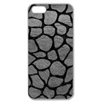 SKIN1 BLACK MARBLE & GRAY LEATHER Apple Seamless iPhone 5 Case (Clear)