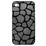 SKIN1 BLACK MARBLE & GRAY LEATHER Apple iPhone 4/4S Hardshell Case (PC+Silicone)