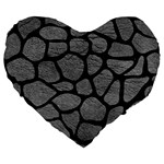 SKIN1 BLACK MARBLE & GRAY LEATHER Large 19  Premium Heart Shape Cushions