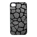 SKIN1 BLACK MARBLE & GRAY LEATHER Apple iPhone 4/4S Hardshell Case with Stand