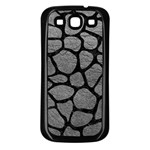 SKIN1 BLACK MARBLE & GRAY LEATHER Samsung Galaxy S3 Back Case (Black)