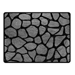 SKIN1 BLACK MARBLE & GRAY LEATHER Double Sided Fleece Blanket (Small)