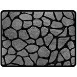 SKIN1 BLACK MARBLE & GRAY LEATHER Double Sided Fleece Blanket (Large)