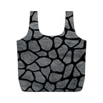 SKIN1 BLACK MARBLE & GRAY LEATHER Full Print Recycle Bags (M)