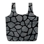 SKIN1 BLACK MARBLE & GRAY LEATHER Full Print Recycle Bags (L)