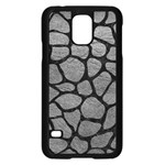 SKIN1 BLACK MARBLE & GRAY LEATHER Samsung Galaxy S5 Case (Black)