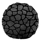 SKIN1 BLACK MARBLE & GRAY LEATHER Large 18  Premium Flano Round Cushions