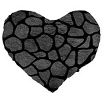 SKIN1 BLACK MARBLE & GRAY LEATHER Large 19  Premium Flano Heart Shape Cushions