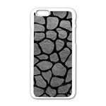 SKIN1 BLACK MARBLE & GRAY LEATHER Apple iPhone 6/6S White Enamel Case