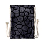 SKIN1 BLACK MARBLE & GRAY LEATHER Drawstring Bag (Small)