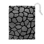 SKIN1 BLACK MARBLE & GRAY LEATHER Drawstring Pouches (Extra Large)