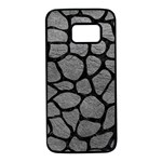 SKIN1 BLACK MARBLE & GRAY LEATHER Samsung Galaxy S7 Black Seamless Case