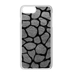 SKIN1 BLACK MARBLE & GRAY LEATHER Apple iPhone 7 Plus White Seamless Case