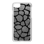 SKIN1 BLACK MARBLE & GRAY LEATHER Apple iPhone 7 Seamless Case (White)