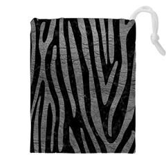 Skin4 Black Marble & Gray Leather (r) Drawstring Pouches (xxl) by trendistuff