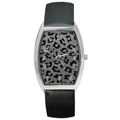 Skin5 Black Marble & Gray Leather Barrel Style Metal Watch by trendistuff