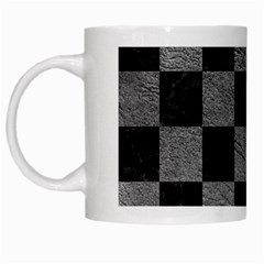 Square1 Black Marble & Gray Leather White Mugs by trendistuff