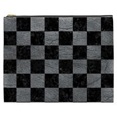 Square1 Black Marble & Gray Leather Cosmetic Bag (xxxl)  by trendistuff