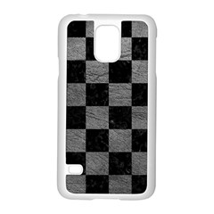 Square1 Black Marble & Gray Leather Samsung Galaxy S5 Case (white) by trendistuff