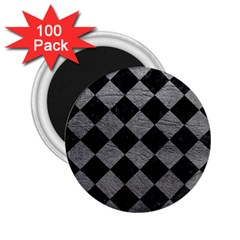 Square2 Black Marble & Gray Leather 2 25  Magnets (100 Pack)