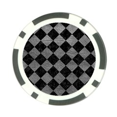 Square2 Black Marble & Gray Leather Poker Chip Card Guard