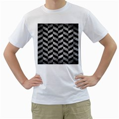 Chevron1 Black Marble & Gray Metal 2 Men s T Shirt (white)  by trendistuff