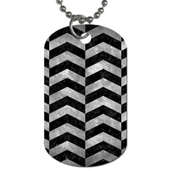 Chevron2 Black Marble & Gray Metal 2 Dog Tag (two Sides) by trendistuff