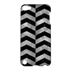 Chevron2 Black Marble & Gray Metal 2 Apple Ipod Touch 5 Hardshell Case