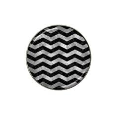Chevron3 Black Marble & Gray Metal 2 Hat Clip Ball Marker (4 Pack)