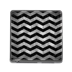 Chevron3 Black Marble & Gray Metal 2 Memory Card Reader (square)