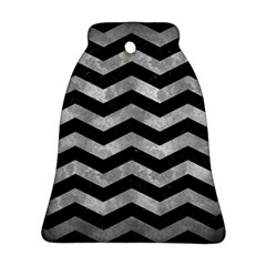 Chevron3 Black Marble & Gray Metal 2 Bell Ornament (two Sides) by trendistuff