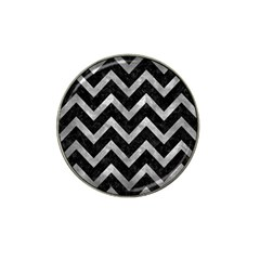 Chevron9 Black Marble & Gray Metal 2 Hat Clip Ball Marker by trendistuff