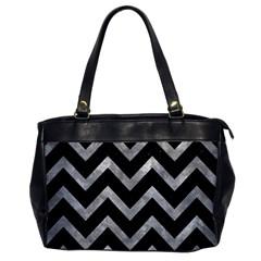 Chevron9 Black Marble & Gray Metal 2 Office Handbags by trendistuff