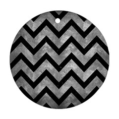 Chevron9 Black Marble & Gray Metal 2 (r) Round Ornament (two Sides) by trendistuff