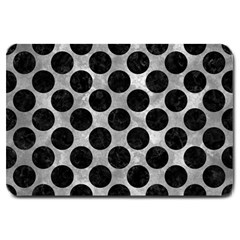 Circles2 Black Marble & Gray Metal 2 (r) Large Doormat  by trendistuff