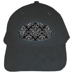 Damask1 Black Marble & Gray Metal 2 Black Cap by trendistuff
