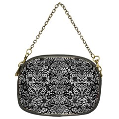 Damask2 Black Marble & Gray Metal 2 Chain Purses (one Side)  by trendistuff
