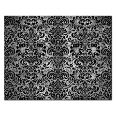 Damask2 Black Marble & Gray Metal 2 (r) Rectangular Jigsaw Puzzl by trendistuff