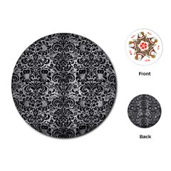Damask2 Black Marble & Gray Metal 2 (r) Playing Cards (round)  by trendistuff