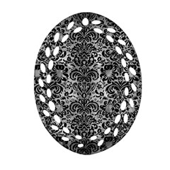 Damask2 Black Marble & Gray Metal 2 (r) Oval Filigree Ornament (two Sides)
