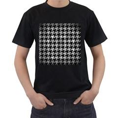 Houndstooth1 Black Marble & Gray Metal 2 Men s T Shirt (black) by trendistuff
