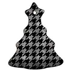 Houndstooth1 Black Marble & Gray Metal 2 Christmas Tree Ornament (two Sides) by trendistuff