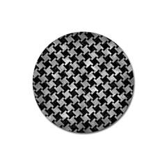 Houndstooth2 Black Marble & Gray Metal 2 Magnet 3  (round) by trendistuff