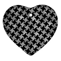 Houndstooth2 Black Marble & Gray Metal 2 Heart Ornament (two Sides) by trendistuff