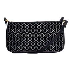 Hexagon1 Black Marble & Gray Metal 2 Shoulder Clutch Bags