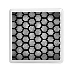 Hexagon2 Black Marble & Gray Metal 2 (r) Memory Card Reader (square)