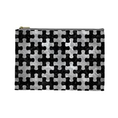 Puzzle1 Black Marble & Gray Metal 2 Cosmetic Bag (large)  by trendistuff
